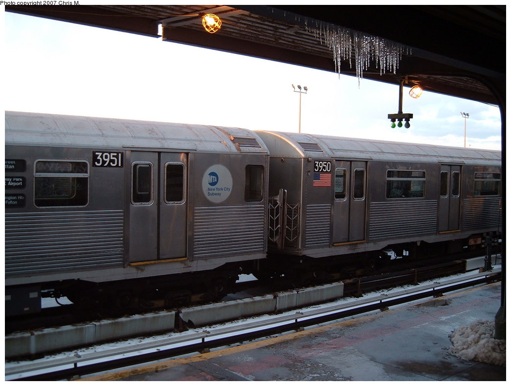 (163k, 1044x788)<br><b>Country:</b> United States<br><b>City:</b> New York<br><b>System:</b> New York City Transit<br><b>Location:</b> Rockaway Park Yard<br><b>Car:</b> R-38 (St. Louis, 1966-1967)  3951 <br><b>Photo by:</b> Chris M.<br><b>Date:</b> 2/18/2007<br><b>Viewed (this week/total):</b> 2 / 1534