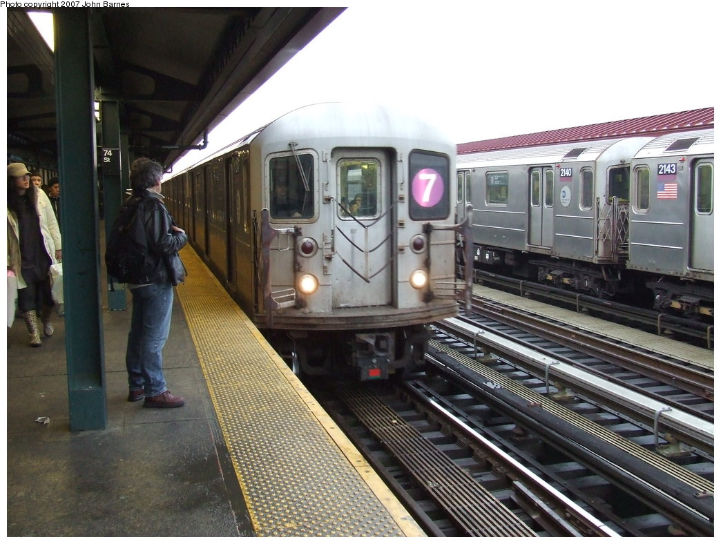(198k, 1044x788)<br><b>Country:</b> United States<br><b>City:</b> New York<br><b>System:</b> New York City Transit<br><b>Line:</b> IRT Flushing Line<br><b>Location:</b> 74th Street/Broadway <br><b>Route:</b> 7<br><b>Car:</b> R-62A (Bombardier, 1984-1987)  2147 <br><b>Photo by:</b> John Barnes<br><b>Date:</b> 2/27/2007<br><b>Viewed (this week/total):</b> 0 / 1271