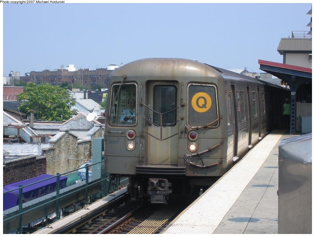 (168k, 1044x788)<br><b>Country:</b> United States<br><b>City:</b> New York<br><b>System:</b> New York City Transit<br><b>Line:</b> BMT Brighton Line<br><b>Location:</b> Brighton Beach <br><b>Route:</b> Q<br><b>Car:</b> R-68A (Kawasaki, 1988-1989)  5024 <br><b>Photo by:</b> Michael Hodurski<br><b>Date:</b> 7/10/2006<br><b>Viewed (this week/total):</b> 0 / 1196