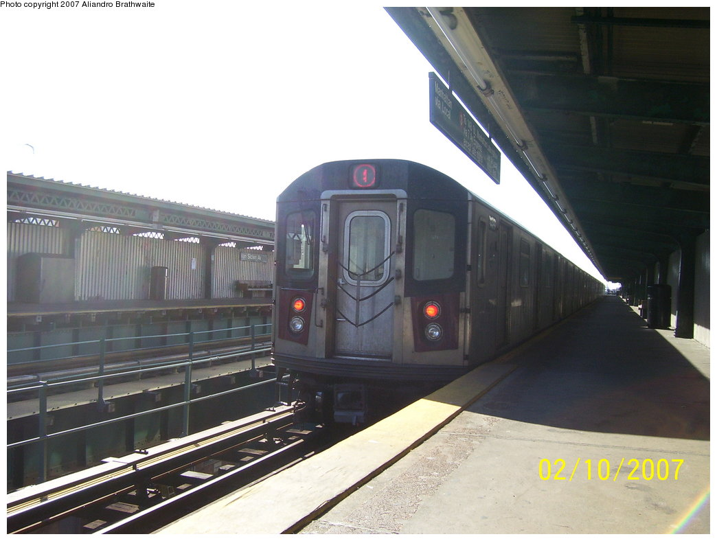 (144k, 1044x788)<br><b>Country:</b> United States<br><b>City:</b> New York<br><b>System:</b> New York City Transit<br><b>Line:</b> IRT Brooklyn Line<br><b>Location:</b> Van Siclen Avenue <br><b>Route:</b> 4<br><b>Car:</b> R-142 (Option Order, Bombardier, 2002-2003)  1150 <br><b>Photo by:</b> Aliandro Brathwaite<br><b>Date:</b> 2/10/2007<br><b>Viewed (this week/total):</b> 0 / 2281
