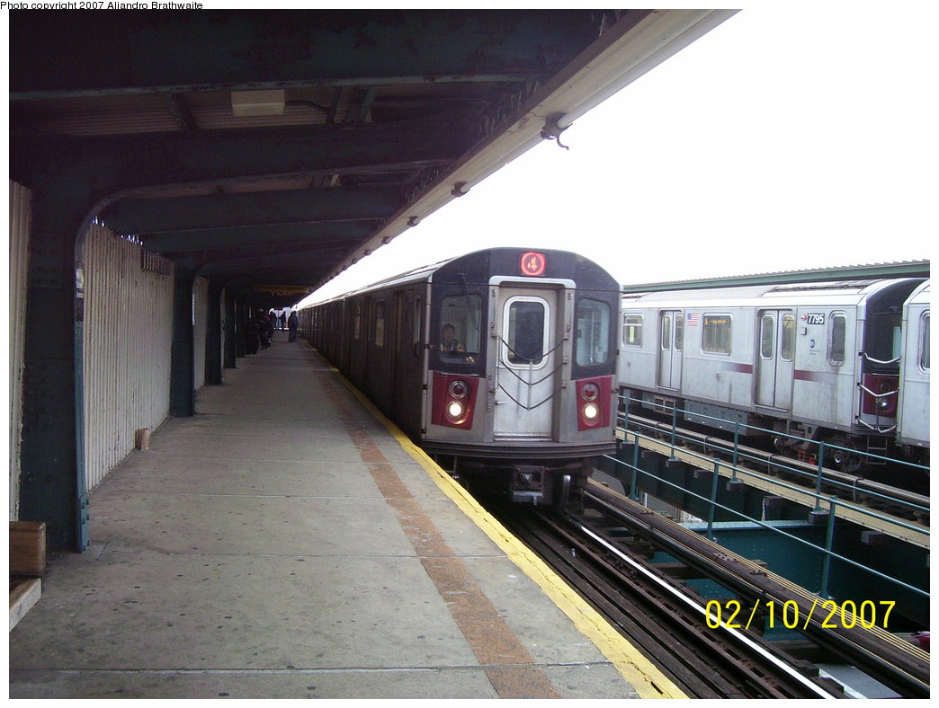 (175k, 1044x788)<br><b>Country:</b> United States<br><b>City:</b> New York<br><b>System:</b> New York City Transit<br><b>Line:</b> IRT Brooklyn Line<br><b>Location:</b> Van Siclen Avenue <br><b>Route:</b> 4<br><b>Car:</b> R-142 (Option Order, Bombardier, 2002-2003)  7101 <br><b>Photo by:</b> Aliandro Brathwaite<br><b>Date:</b> 2/10/2007<br><b>Viewed (this week/total):</b> 3 / 2617