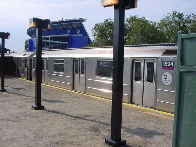 (62k, 640x480)<br><b>Country:</b> United States<br><b>City:</b> New York<br><b>System:</b> New York City Transit<br><b>Line:</b> IRT Flushing Line<br><b>Location:</b> Willets Point/Mets (fmr. Shea Stadium) <br><b>Route:</b> 7<br><b>Car:</b> R-62A (Bombardier, 1984-1987)  1694 <br><b>Photo by:</b> Salaam Allah<br><b>Date:</b> 9/21/2002<br><b>Viewed (this week/total):</b> 4 / 2846