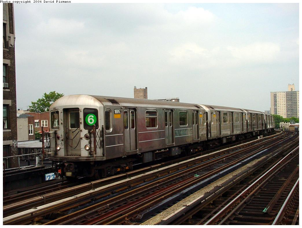 (124k, 1044x788)<br><b>Country:</b> United States<br><b>City:</b> New York<br><b>System:</b> New York City Transit<br><b>Line:</b> IRT Pelham Line<br><b>Location:</b> Elder Avenue <br><b>Route:</b> 6<br><b>Car:</b> R-62A (Bombardier, 1984-1987)  1695 <br><b>Photo by:</b> David Pirmann<br><b>Date:</b> 7/4/2001<br><b>Viewed (this week/total):</b> 3 / 5350