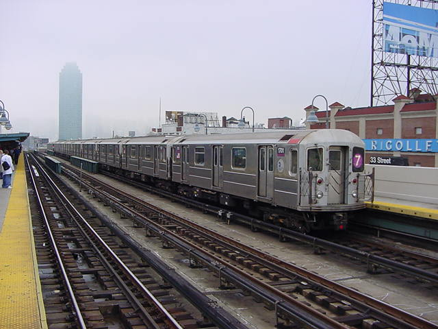 (60k, 640x480)<br><b>Country:</b> United States<br><b>City:</b> New York<br><b>System:</b> New York City Transit<br><b>Line:</b> IRT Flushing Line<br><b>Location:</b> 33rd Street/Rawson Street <br><b>Route:</b> 7<br><b>Car:</b> R-62A (Bombardier, 1984-1987)  1700 <br><b>Photo by:</b> Salaam Allah<br><b>Date:</b> 9/27/2002<br><b>Viewed (this week/total):</b> 3 / 2135