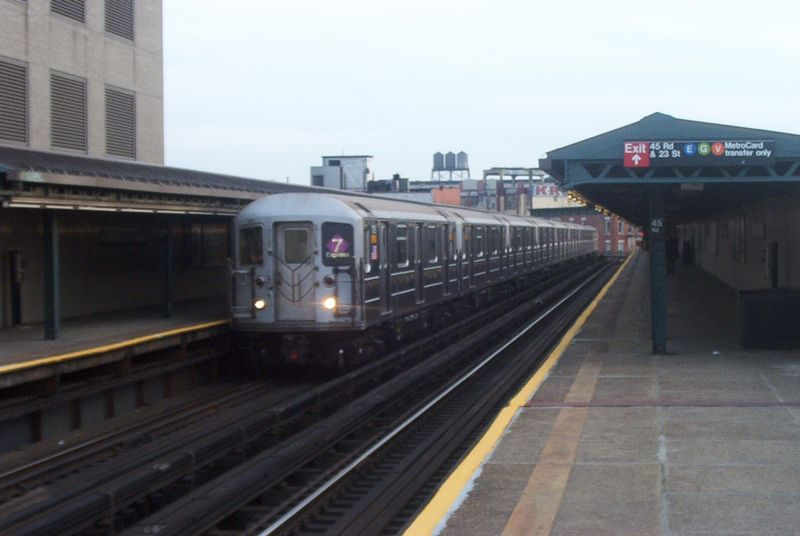 (51k, 800x536)<br><b>Country:</b> United States<br><b>City:</b> New York<br><b>System:</b> New York City Transit<br><b>Line:</b> IRT Flushing Line<br><b>Location:</b> Court House Square/45th Road <br><b>Route:</b> 7<br><b>Car:</b> R-62A (Bombardier, 1984-1987)  1705 <br><b>Photo by:</b> Paul Polischuk<br><b>Date:</b> 2/25/2002<br><b>Viewed (this week/total):</b> 1 / 2860