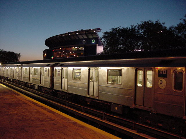 (61k, 640x480)<br><b>Country:</b> United States<br><b>City:</b> New York<br><b>System:</b> New York City Transit<br><b>Line:</b> IRT Flushing Line<br><b>Location:</b> Willets Point/Mets (fmr. Shea Stadium) <br><b>Route:</b> 7<br><b>Car:</b> R-62A (Bombardier, 1984-1987)  1713 <br><b>Photo by:</b> Salaam Allah<br><b>Date:</b> 9/18/2002<br><b>Viewed (this week/total):</b> 0 / 2708