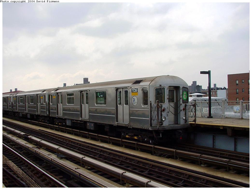 (107k, 1044x788)<br><b>Country:</b> United States<br><b>City:</b> New York<br><b>System:</b> New York City Transit<br><b>Line:</b> IRT Pelham Line<br><b>Location:</b> Castle Hill Avenue <br><b>Route:</b> 6<br><b>Car:</b> R-62A (Bombardier, 1984-1987)  1726 <br><b>Photo by:</b> David Pirmann<br><b>Date:</b> 7/4/2001<br><b>Viewed (this week/total):</b> 3 / 4094