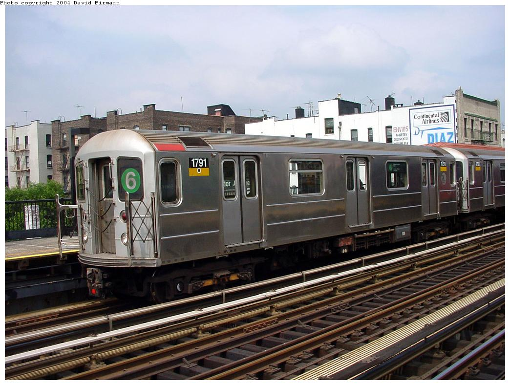 (145k, 1044x788)<br><b>Country:</b> United States<br><b>City:</b> New York<br><b>System:</b> New York City Transit<br><b>Line:</b> IRT Pelham Line<br><b>Location:</b> Elder Avenue <br><b>Route:</b> 6<br><b>Car:</b> R-62A (Bombardier, 1984-1987)  1791 <br><b>Photo by:</b> David Pirmann<br><b>Date:</b> 7/4/2001<br><b>Viewed (this week/total):</b> 0 / 9165