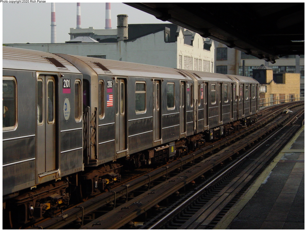 (79k, 820x620)<br><b>Country:</b> United States<br><b>City:</b> New York<br><b>System:</b> New York City Transit<br><b>Line:</b> IRT Flushing Line<br><b>Location:</b> Court House Square/45th Road <br><b>Route:</b> 7<br><b>Car:</b> R-62A (Bombardier, 1984-1987)  2106 <br><b>Photo by:</b> Richard Panse<br><b>Date:</b> 7/18/2002<br><b>Viewed (this week/total):</b> 1 / 3094