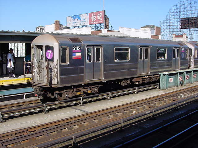 (60k, 640x480)<br><b>Country:</b> United States<br><b>City:</b> New York<br><b>System:</b> New York City Transit<br><b>Line:</b> IRT Flushing Line<br><b>Location:</b> 33rd Street/Rawson Street <br><b>Route:</b> 7<br><b>Car:</b> R-62A (Bombardier, 1984-1987)  2115 <br><b>Photo by:</b> Salaam Allah<br><b>Date:</b> 9/17/2002<br><b>Viewed (this week/total):</b> 5 / 3089