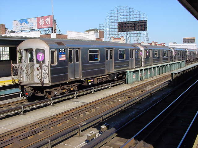 (60k, 640x480)<br><b>Country:</b> United States<br><b>City:</b> New York<br><b>System:</b> New York City Transit<br><b>Line:</b> IRT Flushing Line<br><b>Location:</b> 33rd Street/Rawson Street <br><b>Route:</b> 7<br><b>Car:</b> R-62A (Bombardier, 1984-1987)  2117 <br><b>Photo by:</b> Salaam Allah<br><b>Date:</b> 9/17/2002<br><b>Viewed (this week/total):</b> 3 / 2530
