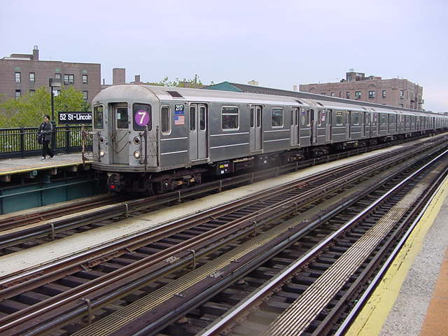 (59k, 640x480)<br><b>Country:</b> United States<br><b>City:</b> New York<br><b>System:</b> New York City Transit<br><b>Line:</b> IRT Flushing Line<br><b>Location:</b> 52nd Street/Lincoln Avenue <br><b>Route:</b> 7<br><b>Car:</b> R-62A (Bombardier, 1984-1987)  2117 <br><b>Photo by:</b> Salaam Allah<br><b>Date:</b> 9/26/2002<br><b>Viewed (this week/total):</b> 2 / 2092