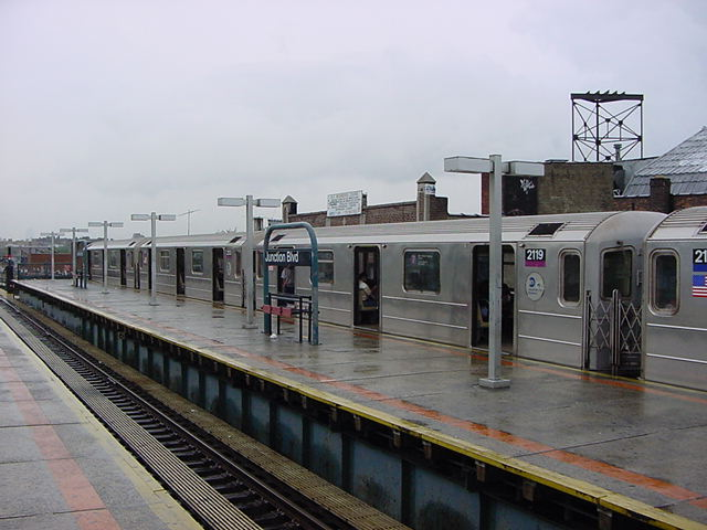 (58k, 640x480)<br><b>Country:</b> United States<br><b>City:</b> New York<br><b>System:</b> New York City Transit<br><b>Line:</b> IRT Flushing Line<br><b>Location:</b> Junction Boulevard <br><b>Route:</b> 7<br><b>Car:</b> R-62A (Bombardier, 1984-1987)  2119 <br><b>Photo by:</b> Salaam Allah<br><b>Date:</b> 9/26/2002<br><b>Viewed (this week/total):</b> 9 / 4161