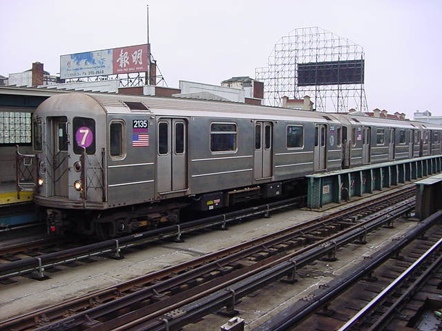 (61k, 640x480)<br><b>Country:</b> United States<br><b>City:</b> New York<br><b>System:</b> New York City Transit<br><b>Line:</b> IRT Flushing Line<br><b>Location:</b> 33rd Street/Rawson Street <br><b>Route:</b> 7<br><b>Car:</b> R-62A (Bombardier, 1984-1987)  2135 <br><b>Photo by:</b> Salaam Allah<br><b>Date:</b> 9/27/2002<br><b>Viewed (this week/total):</b> 4 / 2589