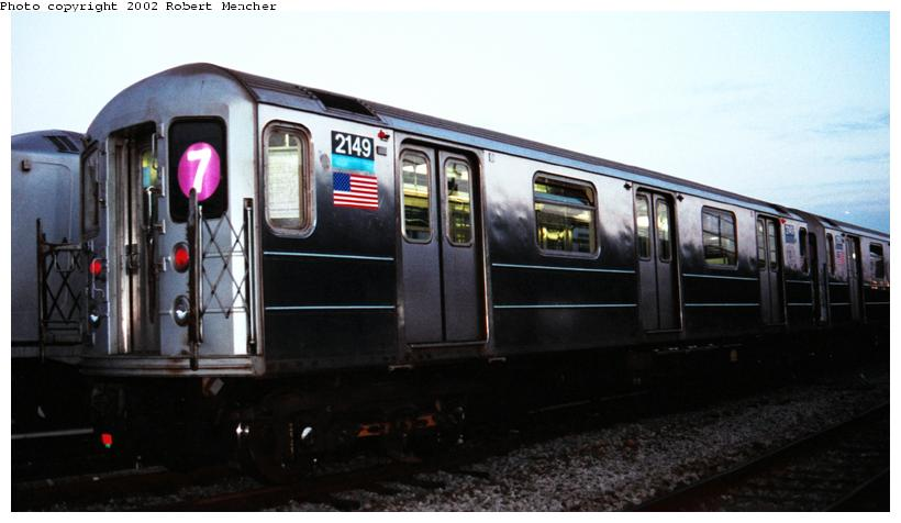 (49k, 820x476)<br><b>Country:</b> United States<br><b>City:</b> New York<br><b>System:</b> New York City Transit<br><b>Location:</b> Coney Island Yard<br><b>Car:</b> R-62A (Bombardier, 1984-1987)  2149 <br><b>Photo by:</b> Robert Mencher<br><b>Date:</b> 4/2002<br><b>Viewed (this week/total):</b> 0 / 3412