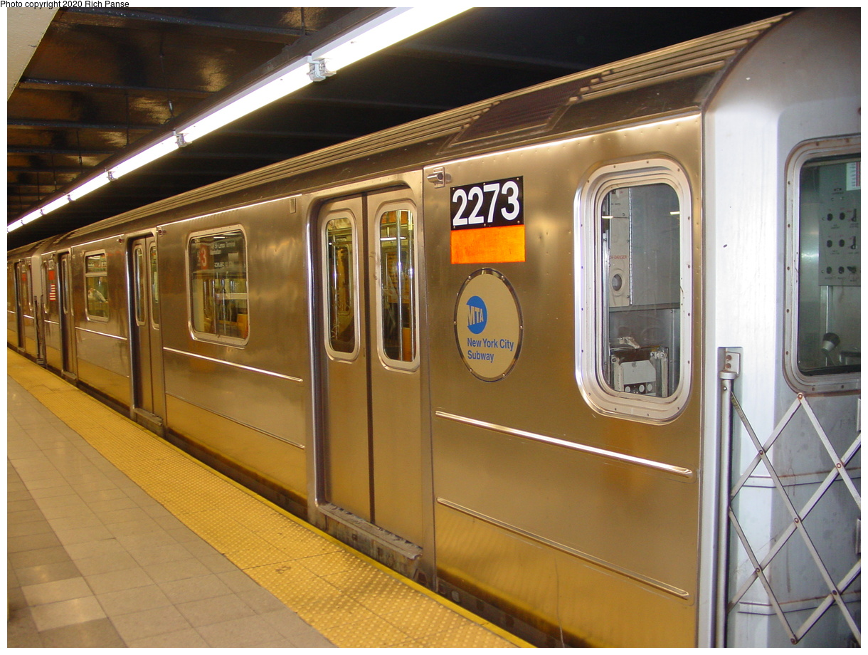 (78k, 820x620)<br><b>Country:</b> United States<br><b>City:</b> New York<br><b>System:</b> New York City Transit<br><b>Line:</b> IRT West Side Line<br><b>Location:</b> 34th Street/Penn Station <br><b>Route:</b> 1<br><b>Car:</b> R-62A (Bombardier, 1984-1987)  2273 <br><b>Photo by:</b> Richard Panse<br><b>Date:</b> 1/23/2002<br><b>Viewed (this week/total):</b> 1 / 5330