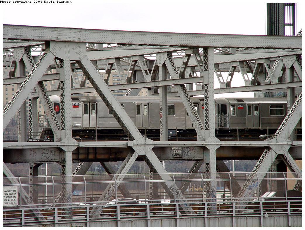 (180k, 1044x788)<br><b>Country:</b> United States<br><b>City:</b> New York<br><b>System:</b> New York City Transit<br><b>Line:</b> IRT West Side Line<br><b>Location:</b> Broadway Bridge <br><b>Route:</b> 1<br><b>Car:</b> R-62A (Bombardier, 1984-1987)  2325 <br><b>Photo by:</b> David Pirmann<br><b>Date:</b> 3/12/2000<br><b>Notes:</b> View from Marble Hill MNRR Station<br><b>Viewed (this week/total):</b> 1 / 5472