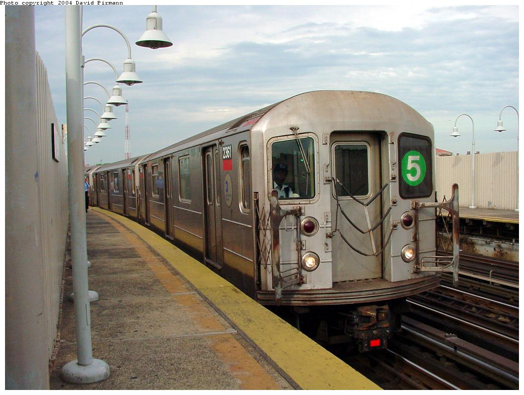 (123k, 1044x788)<br><b>Country:</b> United States<br><b>City:</b> New York<br><b>System:</b> New York City Transit<br><b>Line:</b> IRT White Plains Road Line<br><b>Location:</b> West Farms Sq./East Tremont Ave./177th St. <br><b>Route:</b> 5<br><b>Car:</b> R-62A (Bombardier, 1984-1987)  2361 <br><b>Photo by:</b> David Pirmann<br><b>Date:</b> 7/3/2001<br><b>Viewed (this week/total):</b> 0 / 6243