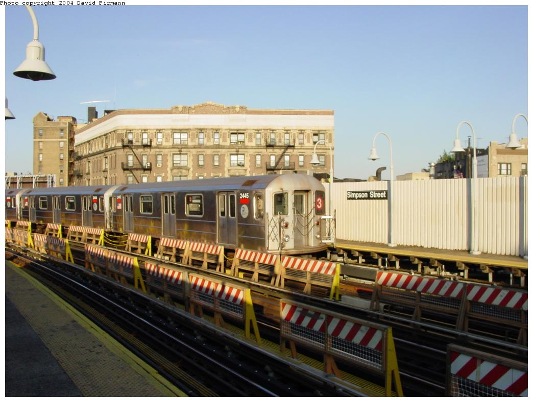 (116k, 1044x788)<br><b>Country:</b> United States<br><b>City:</b> New York<br><b>System:</b> New York City Transit<br><b>Line:</b> IRT White Plains Road Line<br><b>Location:</b> Simpson Street <br><b>Route:</b> 3<br><b>Car:</b> R-62A (Bombardier, 1984-1987)  2445 <br><b>Photo by:</b> David Pirmann<br><b>Date:</b> 8/21/2002<br><b>Viewed (this week/total):</b> 2 / 5423