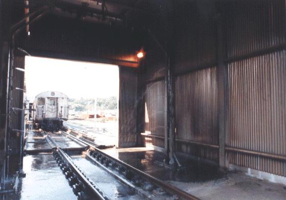 (36k, 559x390)<br><b>Country:</b> United States<br><b>City:</b> New York<br><b>System:</b> New York City Transit<br><b>Location:</b> Jamaica Yard/Shops<br><b>Photo by:</b> Peter Dougherty<br><b>Date:</b> 1998<br><b>Notes:</b> Car wash<br><b>Viewed (this week/total):</b> 0 / 1890