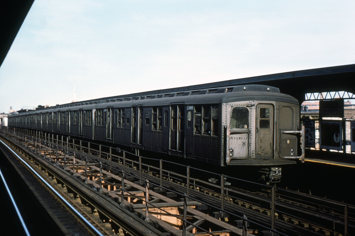 (168k, 1024x669)<br><b>Country:</b> United States<br><b>City:</b> New York<br><b>System:</b> New York City Transit<br><b>Line:</b> BMT Myrtle Avenue Line<br><b>Location:</b> Central Avenue <br><b>Route:</b> M<br><b>Car:</b> BMT A/B-Type Standard 2390 <br><b>Photo by:</b> Doug Grotjahn<br><b>Collection of:</b> Joe Testagrose<br><b>Date:</b> 8/15/1968<br><b>Viewed (this week/total):</b> 0 / 2584