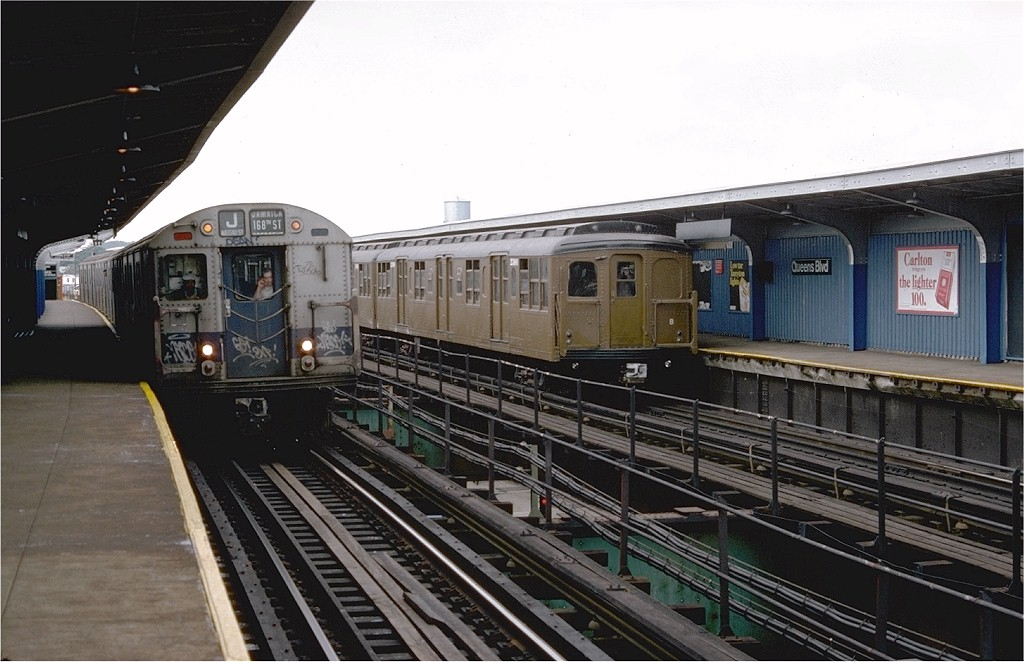 (181k, 1024x662)<br><b>Country:</b> United States<br><b>City:</b> New York<br><b>System:</b> New York City Transit<br><b>Line:</b> BMT Nassau Street/Jamaica Line<br><b>Location:</b> Queens Boulevard (Demolished) <br><b>Route:</b> Fan Trip<br><b>Car:</b> BMT A/B-Type Standard 2390 <br><b>Photo by:</b> Doug Grotjahn<br><b>Collection of:</b> Joe Testagrose<br><b>Date:</b> 9/10/1977<br><b>Viewed (this week/total):</b> 4 / 4183