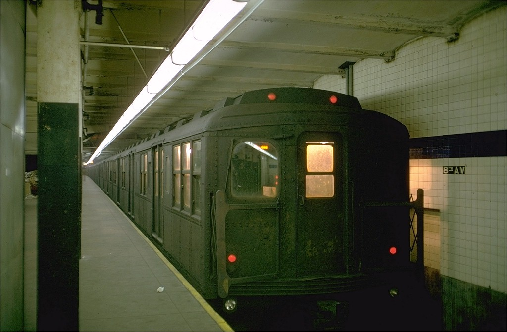 (152k, 1024x671)<br><b>Country:</b> United States<br><b>City:</b> New York<br><b>System:</b> New York City Transit<br><b>Line:</b> BMT Canarsie Line<br><b>Location:</b> 8th Avenue <br><b>Route:</b> LL<br><b>Car:</b> BMT A/B-Type Standard 2584 <br><b>Photo by:</b> Doug Grotjahn<br><b>Collection of:</b> Joe Testagrose<br><b>Date:</b> 2/22/1969<br><b>Viewed (this week/total):</b> 9 / 6047