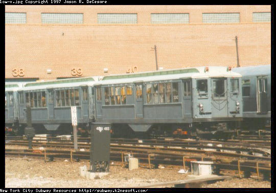 (45k, 540x379)<br><b>Country:</b> United States<br><b>City:</b> New York<br><b>System:</b> New York City Transit<br><b>Location:</b> Coney Island Yard-Museum Yard<br><b>Car:</b> Low-V (Museum Train) 5292 <br><b>Photo by:</b> Jason R. DeCesare<br><b>Date:</b> 1995<br><b>Notes:</b> Another view of the restored Low-V cars<br><b>Viewed (this week/total):</b> 9 / 2420