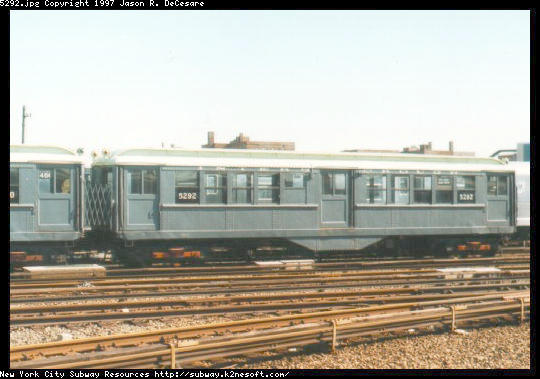(41k, 540x379)<br><b>Country:</b> United States<br><b>City:</b> New York<br><b>System:</b> New York City Transit<br><b>Location:</b> Coney Island Yard-Museum Yard<br><b>Car:</b> Low-V (Museum Train) 5292 <br><b>Photo by:</b> Jason R. DeCesare<br><b>Date:</b> 1995<br><b>Notes:</b> Side View IRT Low-V #5292<br><b>Viewed (this week/total):</b> 0 / 2304