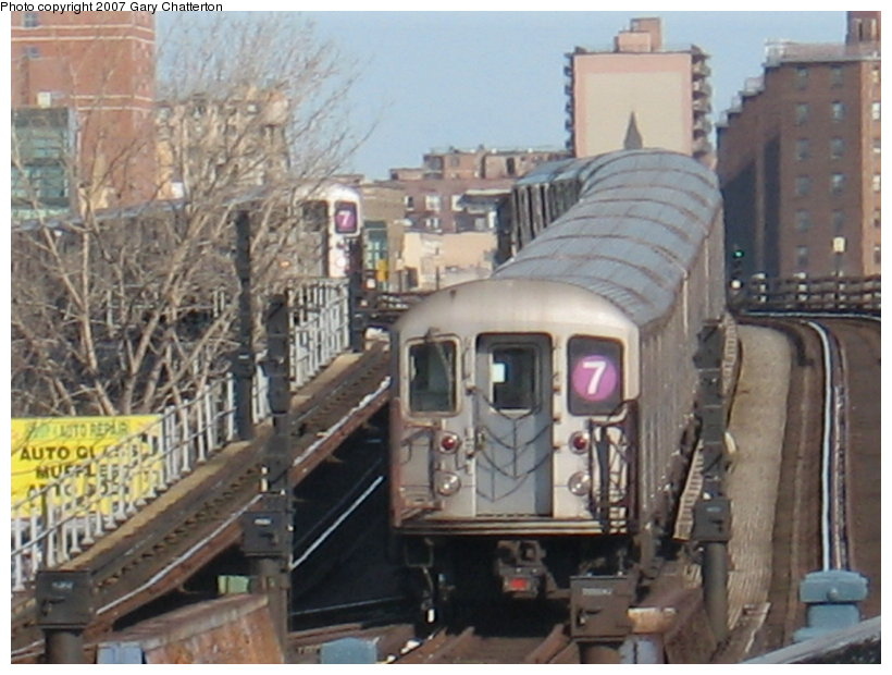(111k, 820x620)<br><b>Country:</b> United States<br><b>City:</b> New York<br><b>System:</b> New York City Transit<br><b>Line:</b> IRT Flushing Line<br><b>Location:</b> Willets Point/Mets (fmr. Shea Stadium) <br><b>Route:</b> 7<br><b>Car:</b> R-62A (Bombardier, 1984-1987)  2085 <br><b>Photo by:</b> Gary Chatterton<br><b>Date:</b> 2/15/2007<br><b>Viewed (this week/total):</b> 0 / 14773
