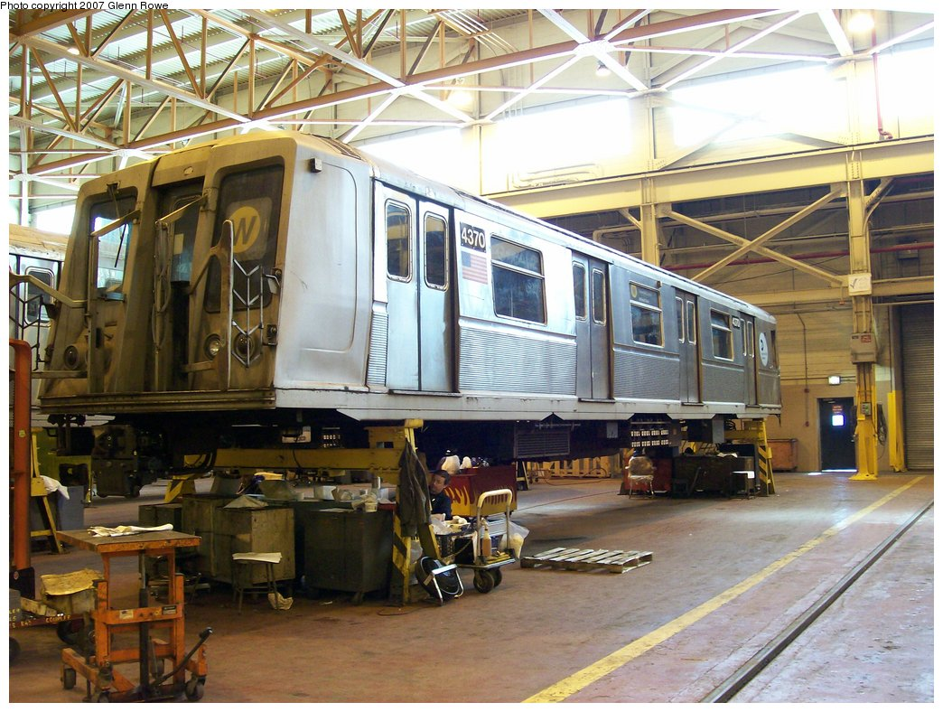 (208k, 1044x788)<br><b>Country:</b> United States<br><b>City:</b> New York<br><b>System:</b> New York City Transit<br><b>Location:</b> Coney Island Shop/Overhaul & Repair Shop<br><b>Car:</b> R-40 (St. Louis, 1968)  4370 <br><b>Photo by:</b> Glenn L. Rowe<br><b>Date:</b> 2/28/2007<br><b>Viewed (this week/total):</b> 0 / 1433