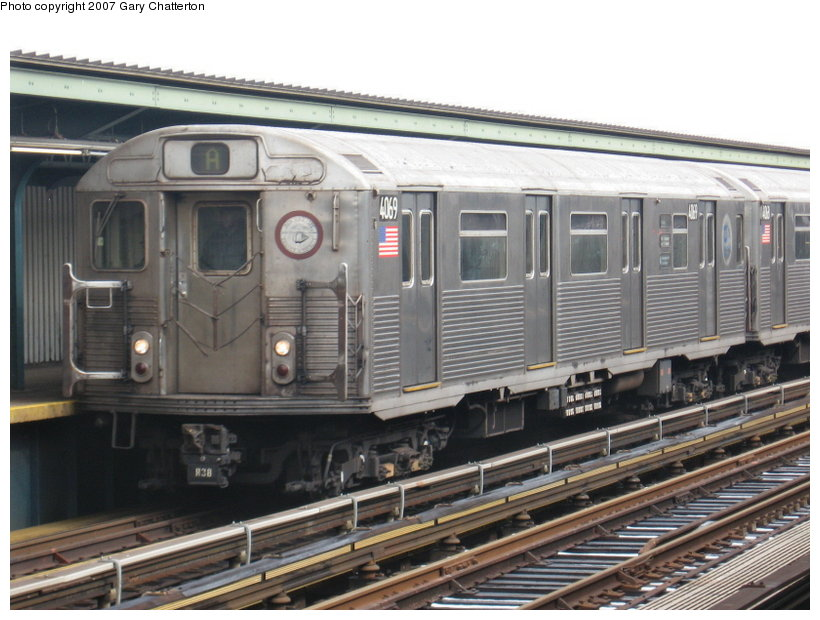 (114k, 820x620)<br><b>Country:</b> United States<br><b>City:</b> New York<br><b>System:</b> New York City Transit<br><b>Line:</b> IND Fulton Street Line<br><b>Location:</b> Rockaway Boulevard <br><b>Route:</b> A<br><b>Car:</b> R-38 (St. Louis, 1966-1967)  4069 <br><b>Photo by:</b> Gary Chatterton<br><b>Date:</b> 2/27/2007<br><b>Viewed (this week/total):</b> 5 / 1748