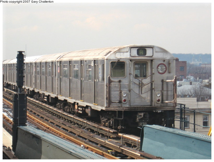 (102k, 820x620)<br><b>Country:</b> United States<br><b>City:</b> New York<br><b>System:</b> New York City Transit<br><b>Line:</b> IND Fulton Street Line<br><b>Location:</b> Rockaway Boulevard <br><b>Route:</b> A<br><b>Car:</b> R-38 (St. Louis, 1966-1967)  4036 <br><b>Photo by:</b> Gary Chatterton<br><b>Date:</b> 2/27/2007<br><b>Viewed (this week/total):</b> 2 / 1293