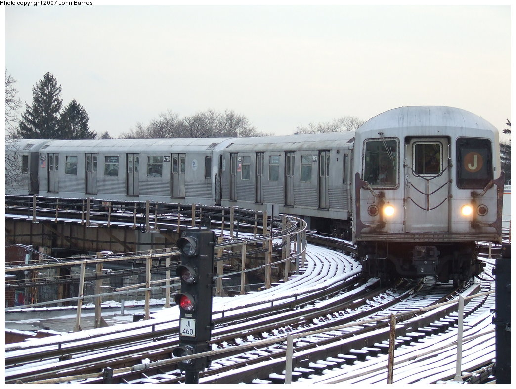 (208k, 1044x788)<br><b>Country:</b> United States<br><b>City:</b> New York<br><b>System:</b> New York City Transit<br><b>Line:</b> BMT Nassau Street/Jamaica Line<br><b>Location:</b> Cypress Hills <br><b>Route:</b> J<br><b>Car:</b> R-42 (St. Louis, 1969-1970)  4618 <br><b>Photo by:</b> John Barnes<br><b>Date:</b> 3/7/2007<br><b>Viewed (this week/total):</b> 1 / 2097
