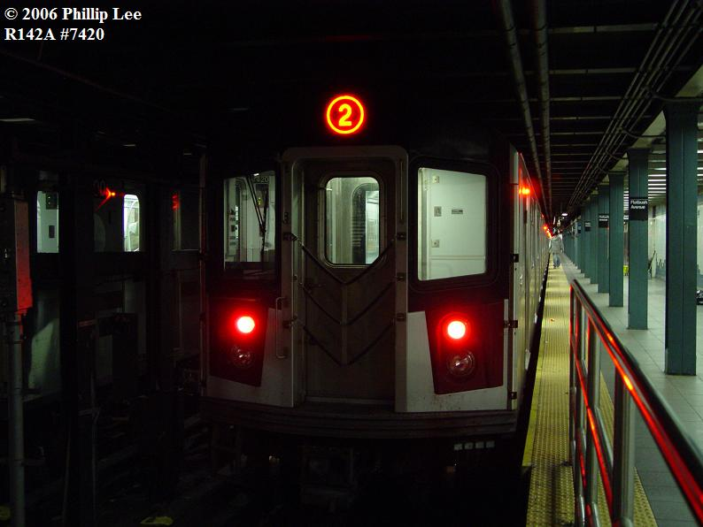 (55k, 794x596)<br><b>Country:</b> United States<br><b>City:</b> New York<br><b>System:</b> New York City Transit<br><b>Line:</b> IRT Brooklyn Line<br><b>Location:</b> Flatbush Avenue <br><b>Route:</b> 2<br><b>Car:</b> R-142A (Primary Order, Kawasaki, 1999-2002)  7420 <br><b>Photo by:</b> Phillip Lee<br><b>Date:</b> 11/1/2006<br><b>Viewed (this week/total):</b> 0 / 3882