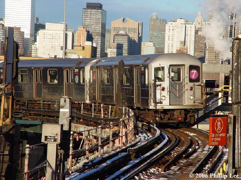 (142k, 800x600)<br><b>Country:</b> United States<br><b>City:</b> New York<br><b>System:</b> New York City Transit<br><b>Line:</b> IRT Flushing Line<br><b>Location:</b> Queensborough Plaza <br><b>Route:</b> 7<br><b>Car:</b> R-62A (Bombardier, 1984-1987)   <br><b>Photo by:</b> Phillip Lee<br><b>Date:</b> 1/16/2006<br><b>Viewed (this week/total):</b> 1 / 1538