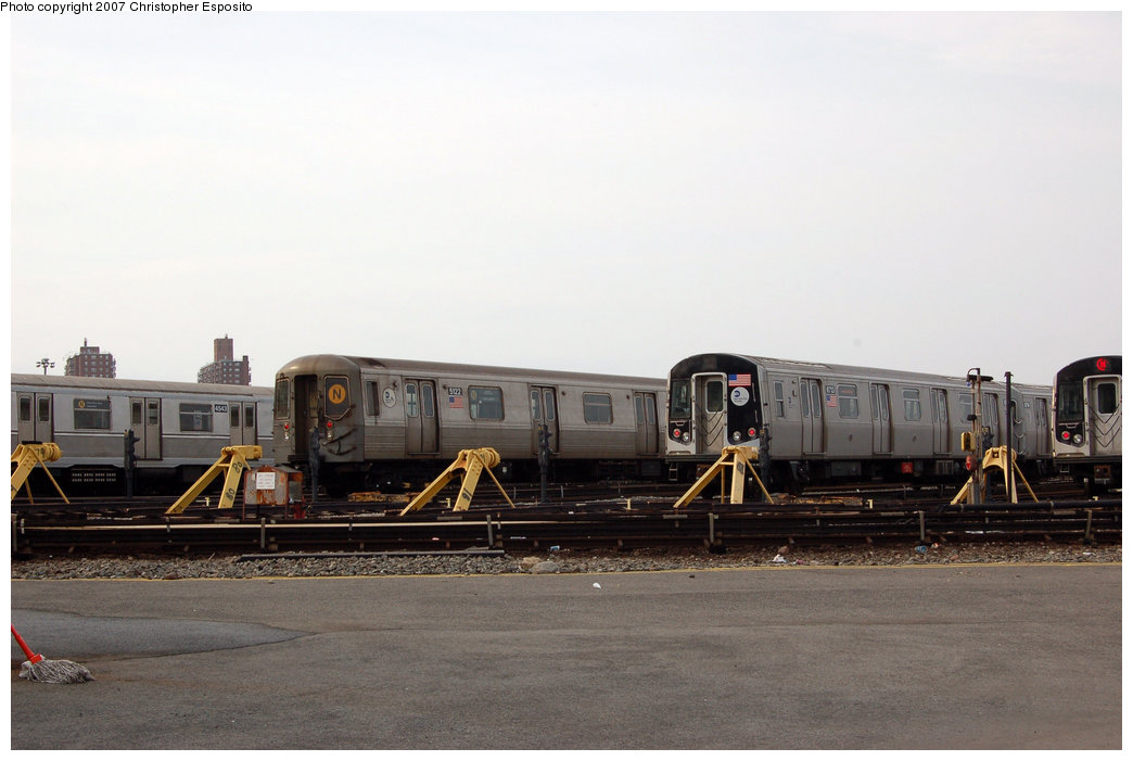 (125k, 1044x701)<br><b>Country:</b> United States<br><b>City:</b> New York<br><b>System:</b> New York City Transit<br><b>Location:</b> Coney Island Yard<br><b>Car:</b> R-160B (Kawasaki, 2005-2008)  8713 <br><b>Photo by:</b> Christopher Esposito<br><b>Date:</b> 3/10/2007<br><b>Notes:</b> With R40M 4543 and R68A 5122<br><b>Viewed (this week/total):</b> 2 / 2047