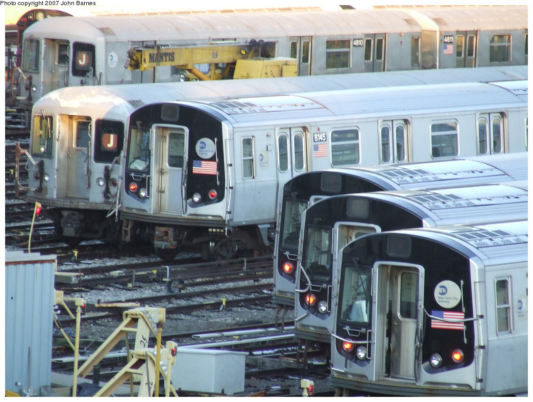 (190k, 1044x788)<br><b>Country:</b> United States<br><b>City:</b> New York<br><b>System:</b> New York City Transit<br><b>Location:</b> East New York Yard/Shops<br><b>Car:</b> R-143 (Kawasaki, 2001-2002) 8145 <br><b>Photo by:</b> John Barnes<br><b>Date:</b> 3/8/2007<br><b>Viewed (this week/total):</b> 2 / 2496
