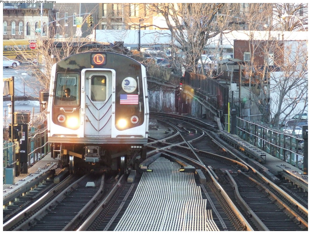 (281k, 1044x788)<br><b>Country:</b> United States<br><b>City:</b> New York<br><b>System:</b> New York City Transit<br><b>Line:</b> BMT Canarsie Line<br><b>Location:</b> Broadway Junction <br><b>Route:</b> L<br><b>Car:</b> R-143 (Kawasaki, 2001-2002)  <br><b>Photo by:</b> John Barnes<br><b>Date:</b> 3/8/2007<br><b>Viewed (this week/total):</b> 1 / 2899