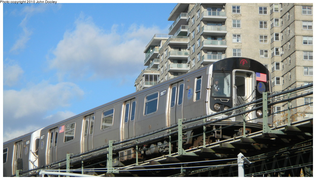 (237k, 1044x596)<br><b>Country:</b> United States<br><b>City:</b> New York<br><b>System:</b> New York City Transit<br><b>Line:</b> BMT Culver Line<br><b>Location:</b> Neptune Avenue <br><b>Route:</b> F<br><b>Car:</b> R-160B (Option 2) (Kawasaki, 2009)  9877 <br><b>Photo by:</b> John Dooley<br><b>Date:</b> 11/18/2010<br><b>Viewed (this week/total):</b> 1 / 601