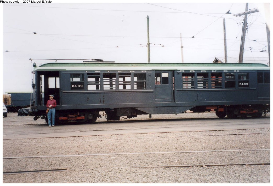 (139k, 1044x713)<br><b>Country:</b> United States<br><b>City:</b> East Haven/Branford, Ct.<br><b>System:</b> Shore Line Trolley Museum <br><b>Car:</b> Low-V 5466 <br><b>Photo by:</b> Margot E. Yale<br><b>Date:</b> 3/2007<br><b>Notes:</b> IRT Lo-V 5466 at the Shoreline Trolley Museum in Branford CT. David R. Yale has just driven it in the Museum's Guest Operator program.<br><b>Viewed (this week/total):</b> 1 / 1209