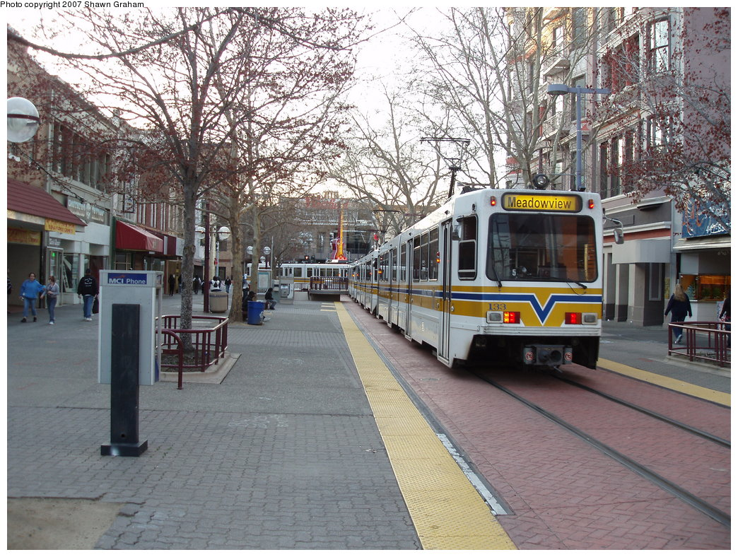 (280k, 1044x788)<br><b>Country:</b> United States<br><b>City:</b> Sacramento, CA<br><b>System:</b> SACRT Light Rail<br><b>Location:</b> 7th & K <br><b>Car:</b> Sacramento Siemens LRV  133 <br><b>Photo by:</b> Shawn Graham<br><b>Date:</b> 3/8/2007<br><b>Viewed (this week/total):</b> 2 / 1118