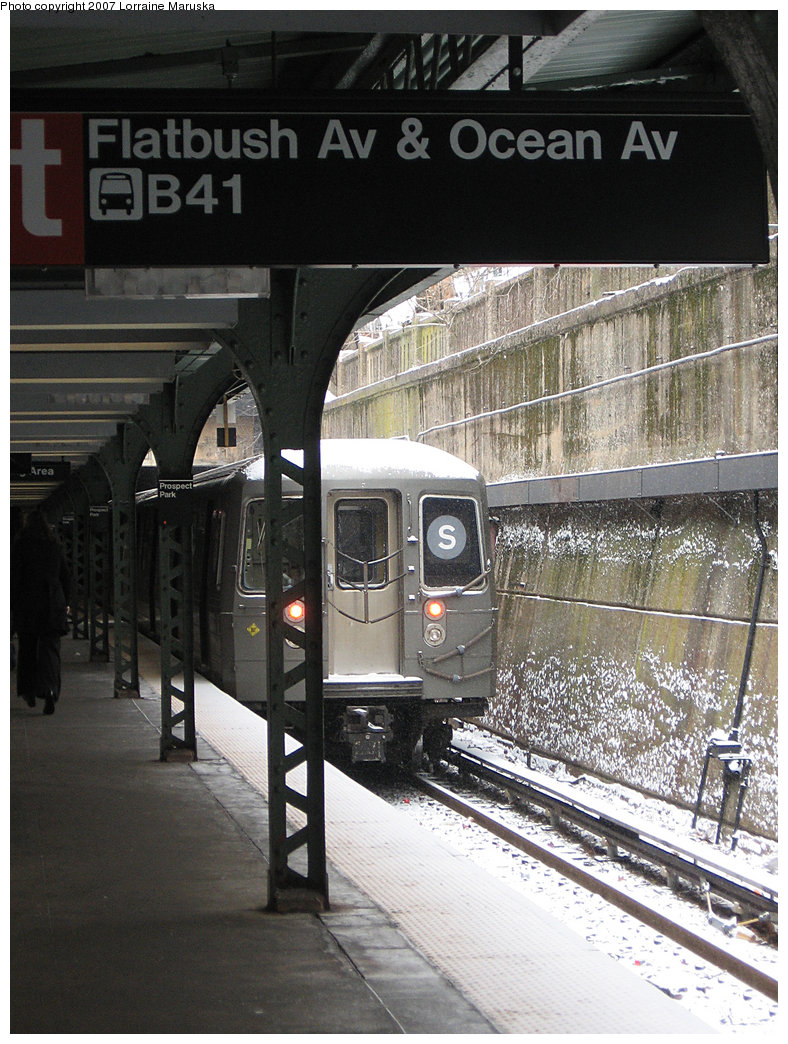 (252k, 788x1044)<br><b>Country:</b> United States<br><b>City:</b> New York<br><b>System:</b> New York City Transit<br><b>Line:</b> BMT Franklin<br><b>Location:</b> Prospect Park <br><b>Route:</b> Franklin Shuttle<br><b>Car:</b> R-68 (Westinghouse-Amrail, 1986-1988)   <br><b>Photo by:</b> Lorraine Maruska<br><b>Date:</b> 3/6/2007<br><b>Viewed (this week/total):</b> 0 / 2473
