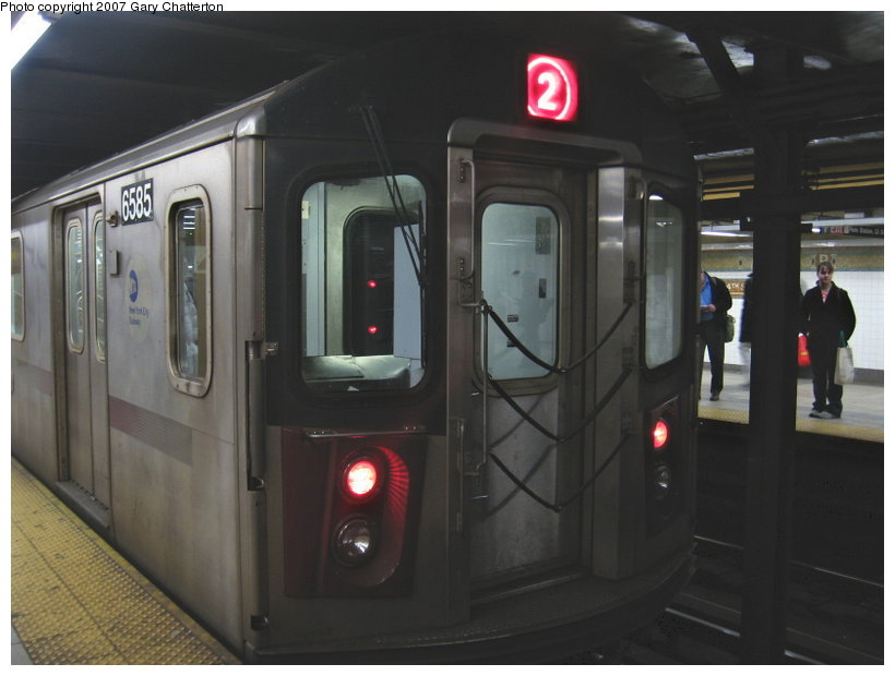 (78k, 820x620)<br><b>Country:</b> United States<br><b>City:</b> New York<br><b>System:</b> New York City Transit<br><b>Line:</b> IRT West Side Line<br><b>Location:</b> 34th Street/Penn Station <br><b>Route:</b> 2<br><b>Car:</b> R-142 (Primary Order, Bombardier, 1999-2002)  6585 <br><b>Photo by:</b> Gary Chatterton<br><b>Date:</b> 3/9/2007<br><b>Viewed (this week/total):</b> 2 / 3361