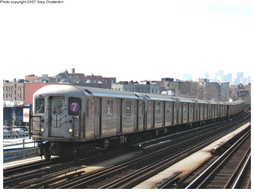 (97k, 820x620)<br><b>Country:</b> United States<br><b>City:</b> New York<br><b>System:</b> New York City Transit<br><b>Line:</b> IRT Flushing Line<br><b>Location:</b> 52nd Street/Lincoln Avenue <br><b>Route:</b> 7<br><b>Car:</b> R-62A (Bombardier, 1984-1987)  2100 <br><b>Photo by:</b> Gary Chatterton<br><b>Date:</b> 3/9/2007<br><b>Viewed (this week/total):</b> 0 / 1110