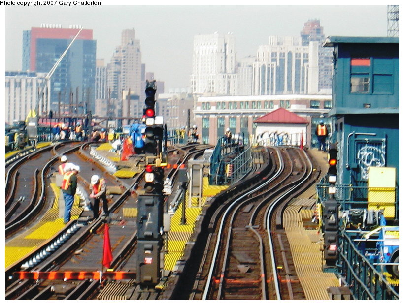 (152k, 820x620)<br><b>Country:</b> United States<br><b>City:</b> New York<br><b>System:</b> New York City Transit<br><b>Line:</b> IRT Flushing Line<br><b>Location:</b> Queensborough Plaza <br><b>Photo by:</b> Gary Chatterton<br><b>Date:</b> 3/9/2007<br><b>Notes:</b> Track work between QBP and 33rd/Rawson.<br><b>Viewed (this week/total):</b> 3 / 2484
