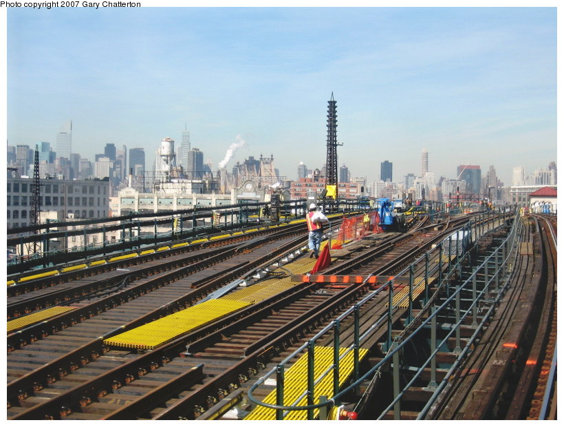 (136k, 820x620)<br><b>Country:</b> United States<br><b>City:</b> New York<br><b>System:</b> New York City Transit<br><b>Line:</b> IRT Flushing Line<br><b>Location:</b> Queensborough Plaza <br><b>Photo by:</b> Gary Chatterton<br><b>Date:</b> 3/9/2007<br><b>Notes:</b> Track work between QBP and 33rd/Rawson.<br><b>Viewed (this week/total):</b> 0 / 1351