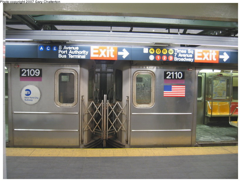 (101k, 820x620)<br><b>Country:</b> United States<br><b>City:</b> New York<br><b>System:</b> New York City Transit<br><b>Line:</b> IRT Flushing Line<br><b>Location:</b> Times Square <br><b>Route:</b> 7<br><b>Car:</b> R-62A (Bombardier, 1984-1987)  2109/2110 <br><b>Photo by:</b> Gary Chatterton<br><b>Date:</b> 3/9/2007<br><b>Viewed (this week/total):</b> 1 / 3163