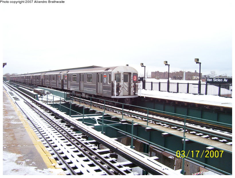 (132k, 820x620)<br><b>Country:</b> United States<br><b>City:</b> New York<br><b>System:</b> New York City Transit<br><b>Line:</b> IRT Brooklyn Line<br><b>Location:</b> Van Siclen Avenue <br><b>Route:</b> 3<br><b>Car:</b> R-62 (Kawasaki, 1983-1985)  1445 <br><b>Photo by:</b> Aliandro Brathwaite<br><b>Date:</b> 3/17/2007<br><b>Viewed (this week/total):</b> 1 / 2026