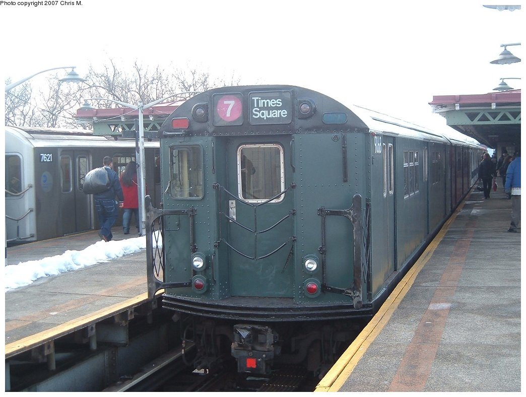 (150k, 1044x788)<br><b>Country:</b> United States<br><b>City:</b> New York<br><b>System:</b> New York City Transit<br><b>Line:</b> IRT Pelham Line<br><b>Location:</b> East 177th Street/Parkchester <br><b>Route:</b> Fan Trip<br><b>Car:</b> R-33 Main Line (St. Louis, 1962-63) 9068 <br><b>Photo by:</b> Chris M.<br><b>Date:</b> 2/26/2005<br><b>Viewed (this week/total):</b> 1 / 1487